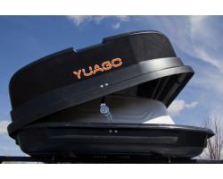 Автобокс Pragmatic YUAGO (410 л.) Серый, Белый (тиснение)