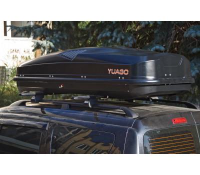 Автобокс YUAGO ANTARES (580 л.) ДВУСТОРОННИЙ Серый,Белый,Черный (тиснение)