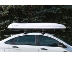 Спортивный автобокс Cosmo YUAGO (485 л.) EURO LOCK Серый,Белый,Черный (тиснение)