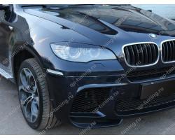 Реснички на фары BMW X6 E71 (2008-2014) (ДЛЯ СТАНДАРТНЫХ ФАР, НЕ ПОДХОДЯТ НА LED ОПТИКУ)